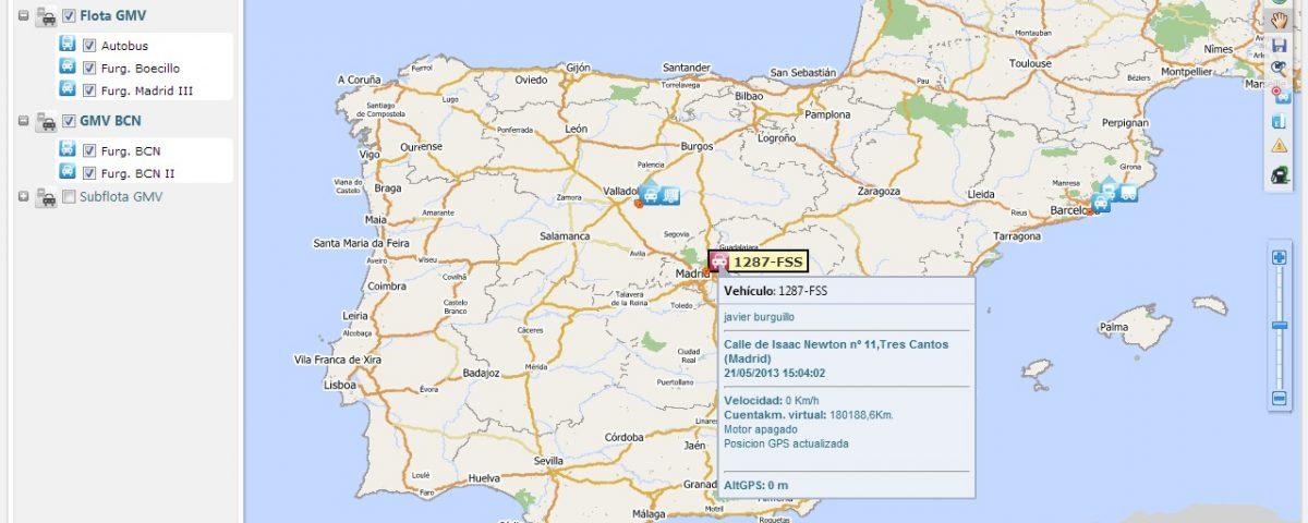Pop up de localización de vehículos en tiempo real modo mapa