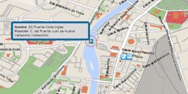 Representación cartográfica de punto de interés y vehículo