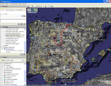 Visualización de las rutas sobre Google Earth