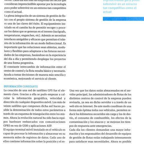Artículo de localización de flotas de vehículos en revista