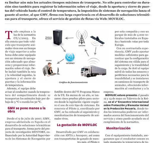 Reportaje de gestión telemática de flotas en revista ganadería